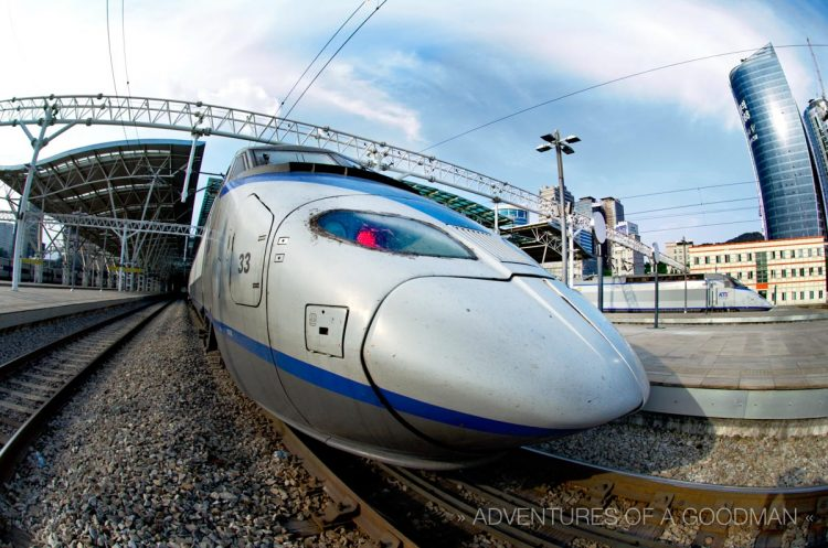 A bullet train in the Seoul Station
