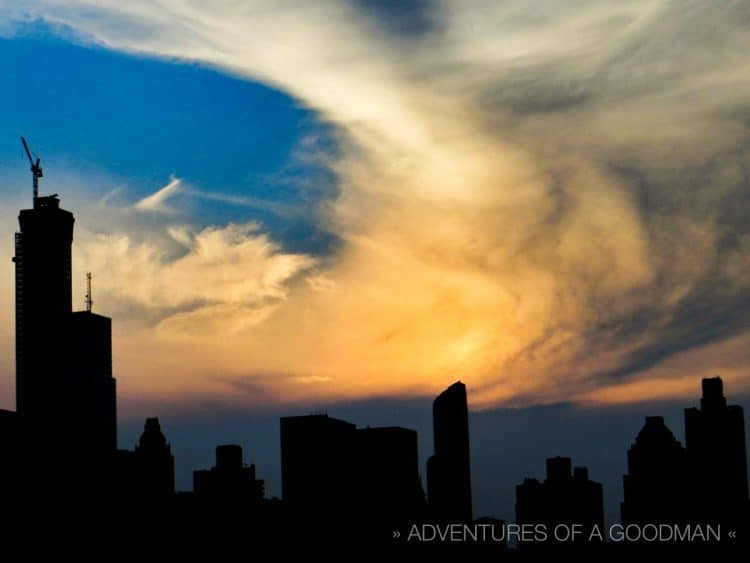 A cloud vortex above Manhattan, as seen from my mom's balcony on Roosevelt Island, NYC