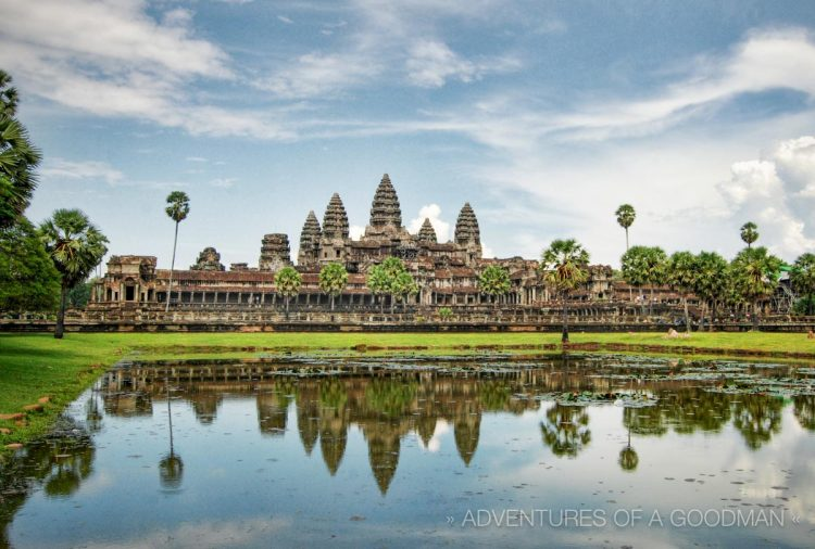 The classic view of Angkor Wat and the reflecting lotus pond.