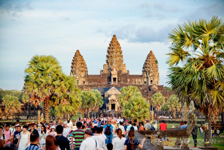 Trying to leave Angkor Wat at the end of the day is like being stuck in a human traffic jam.