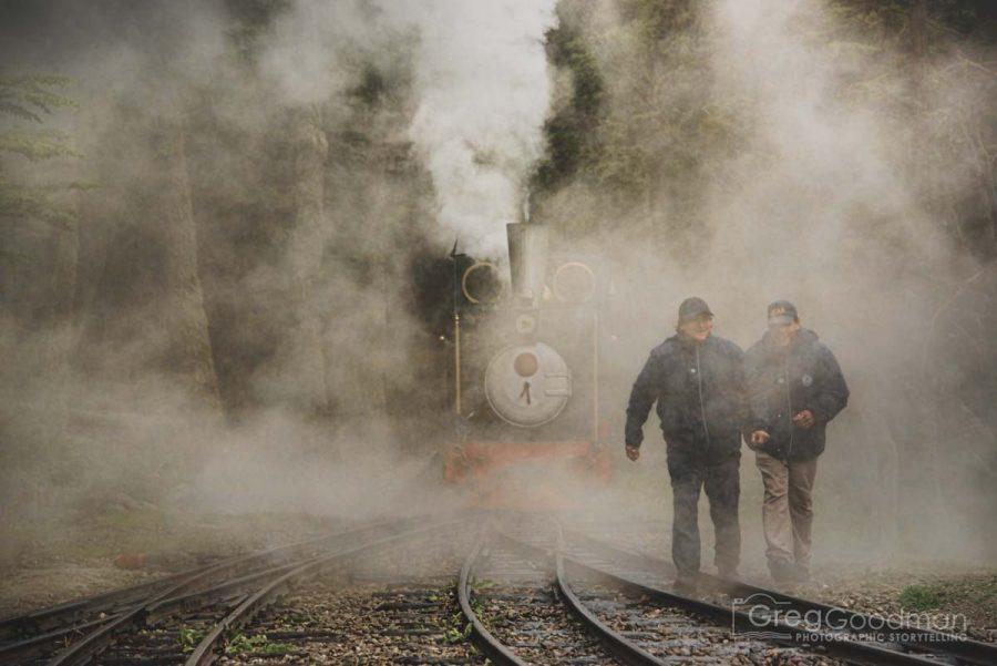 Workers on the tracks of el Tren del Fin del Mundo in Tierra del Fuego, Patagonia, Argentina