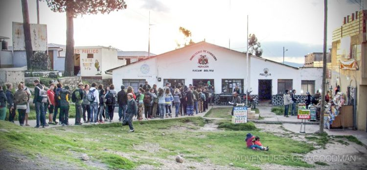 Before even applying for a Visa, we had to first wait on this massive line outside Bolivian immigration.