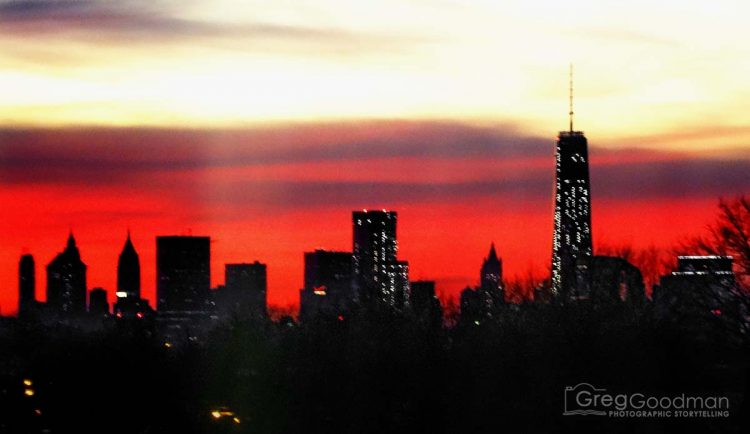 The New York City skyline from the outskirts of Queens.
