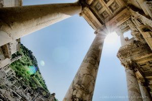 Looking up at the Library of Celsus at Ephesus