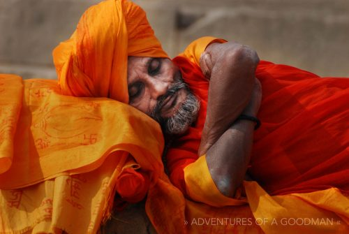 A sleeping Sadhu along the shores of the Ganges River