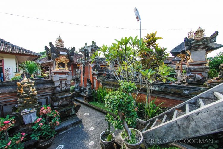 The inside of a typical local housing complex in Ubud, Bali, Indonesia