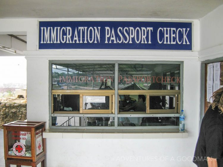 Once you have a visa, you visit this booth to get a stamp in your passport