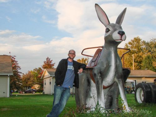 Posing with a gigantic hare at Henry's Rabbit Ranch in Staunton, IL