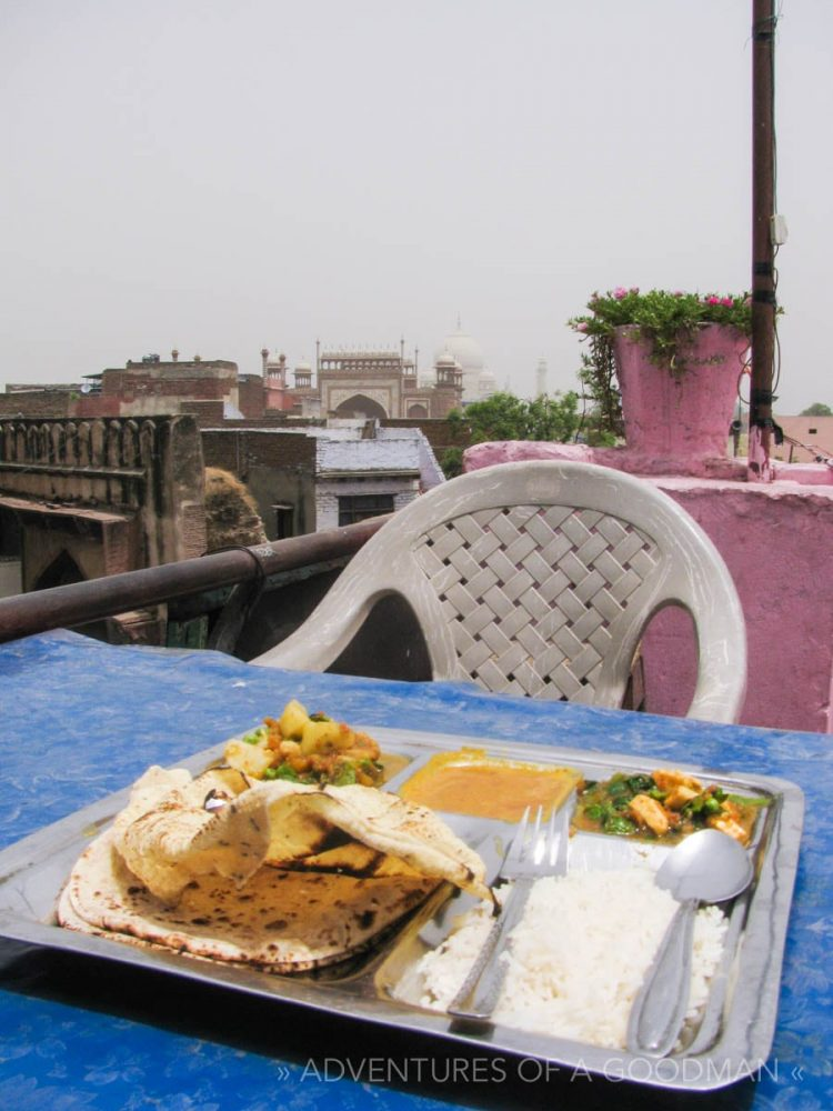 This is the thali I ate while gazing at the Taj Mahal in Agra, India