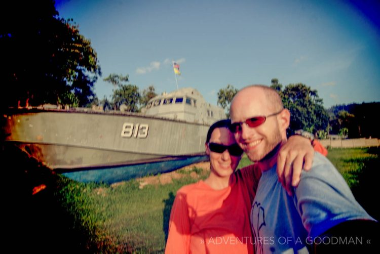 Carrie and I in front of the police boat memorial