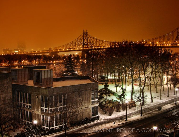 The Queensboro Bridge as seen on a snowy Roosevelt Island evening