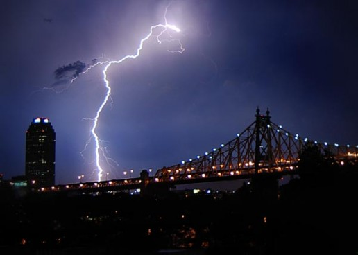 A bolt of lightning over the Queensboro Bridge and Long Island City