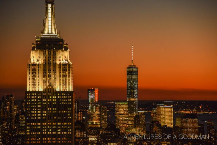 The Empire State Building and Freedom Tower, as seen from the Top of the Rock in New York City