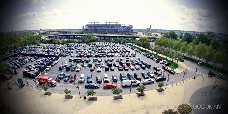 A view of the Camden Yards parking lot with M&T Bank Ravens Stadium beyond