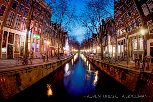 A fisheye photograph of Amsterdam's Red Light District at Dusk/the Blue Hour