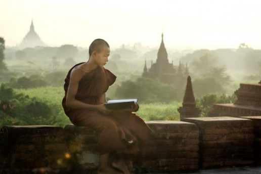 Monk sunrise in Bagan, Burma