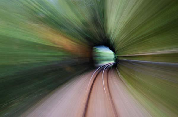 A train goes through a tunnel in the Pingxi Line Railroad - Taiwan