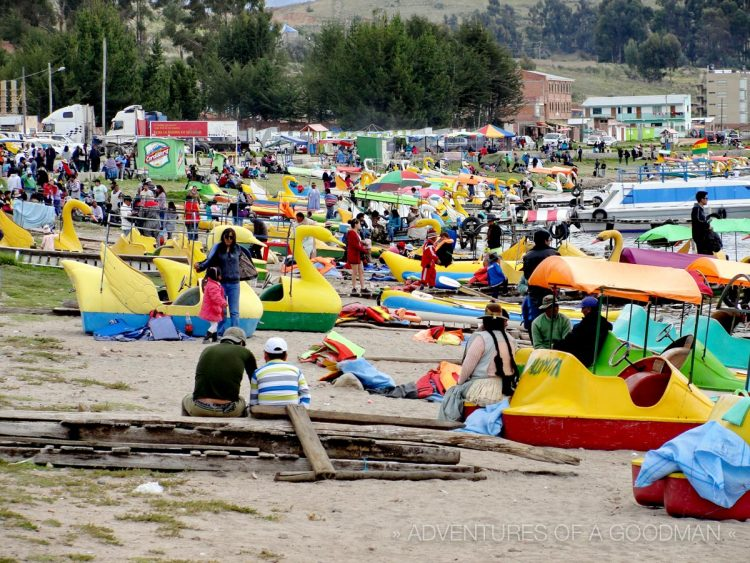 Copacabana's waterside is filled with boats for rent, fooseball tables, water sports and all sorts of food and drink vendors