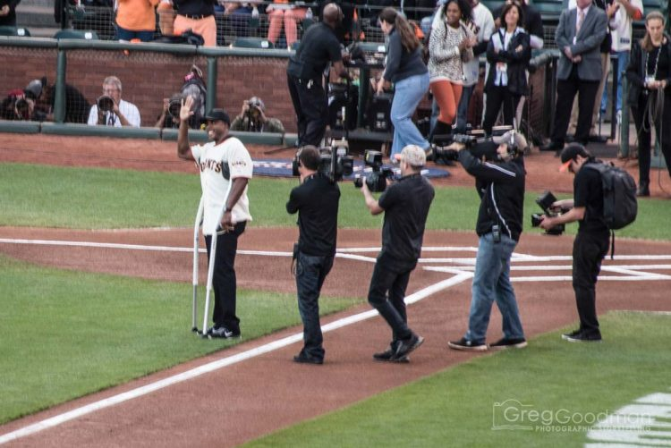Barry Bonds – a local hero/villain – threw out the first pitch.