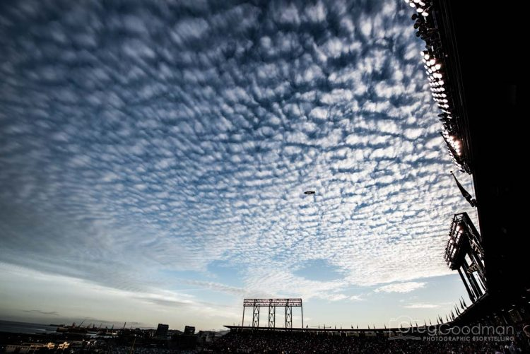AT&T Park sees more than its share of clouds; but, the skies were especially magical for photography during Game 4 of the 2014 NLCS.