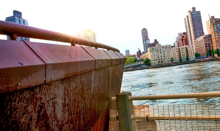 The east side of Roosevelt Island has some strange ship hull sculpture facing Manhattan