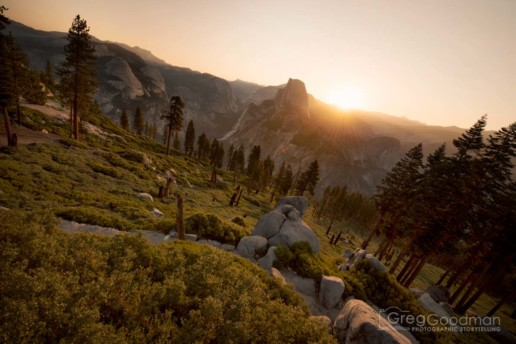 Sunrise over Half Dome, as seen from Glacier Point in Yosemite