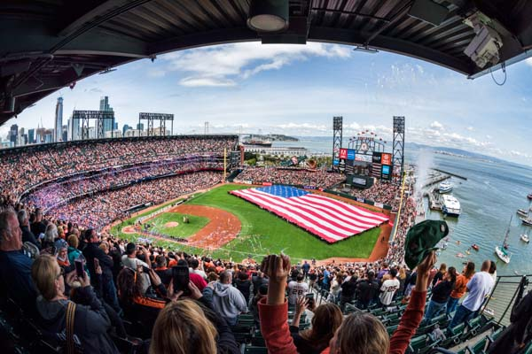 AT&T Park and the America Flag, as seen from the last row of the right field upper deck on opening day, 2017