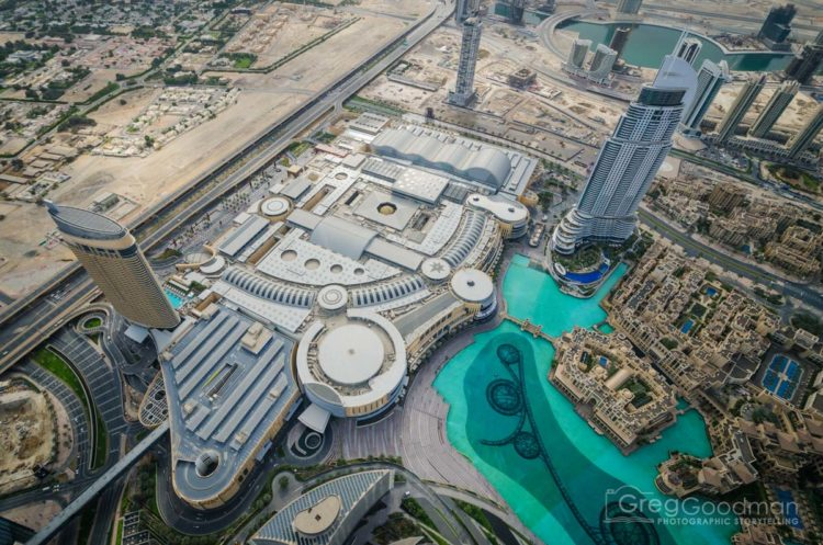 Looking down at the Dubai Mall (left), fountain and souk baazar (right)
