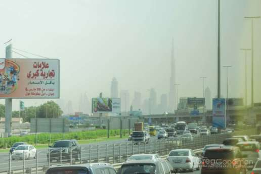 The Burj Khalifa can be seen (and photographed) from pretty much every highway leading into Dubai