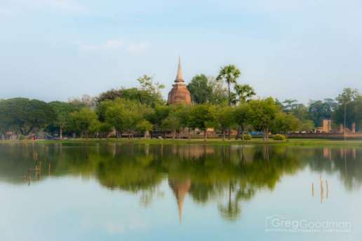 Wat Sa Si towers above the nearby tree line in Old Sukhothai