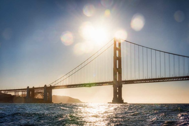 The Golden Gate Bridge, as seen from a boat tour on the San Francisco Bay